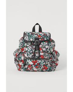 Ryggsäck I Nylon Svart/blommig
