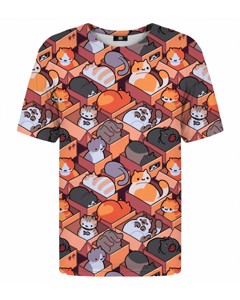 Mr. Gugu & Miss Go Cardboard Cats T-shirt Animal Orange