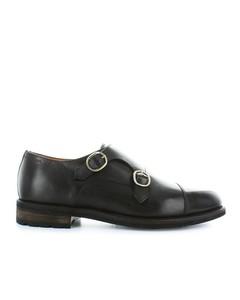 Santoni Dark Brown Leather Double-buckle