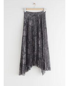 Pleated Asymmetric Midi Skirt Grey Print