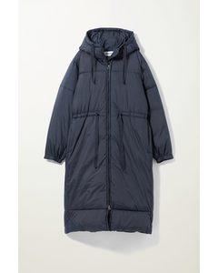 Ally Long Puffer Jacket Dark Blue