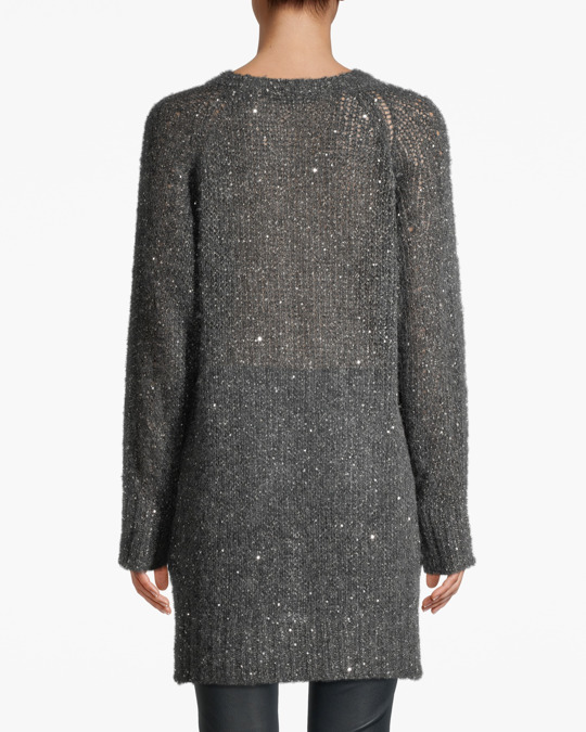 Hunkydory Mia Sparkle Box Knit-long  Gun Metal Grey