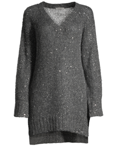 Mia Sparkle Box Knit-long  Gun Metal Grey