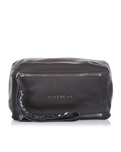 Givenchy Pandora Leather Clutch Bag Gray