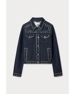 Cropped Studded Denim Jacket Blue