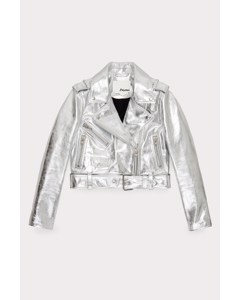 Cropped Leather Jacket Silver