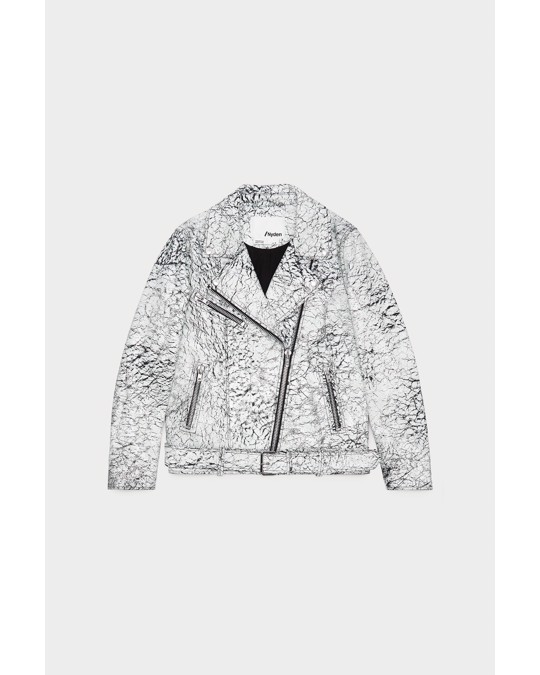 Nyden Moto Jacket Black With White Crack White