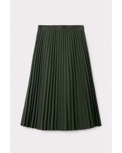 Pleated Twill Utility Skirt Green