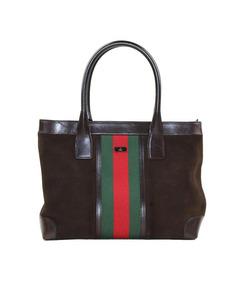 Gucci Web Suede Tote Bag Brown