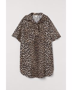 Oversized Blusenkleid Hellbeige/Leopardenmuster