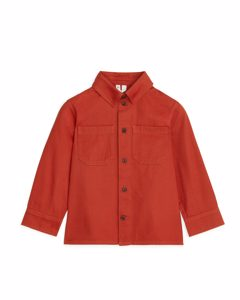 Cotton Twill Overshirt Dark Orange