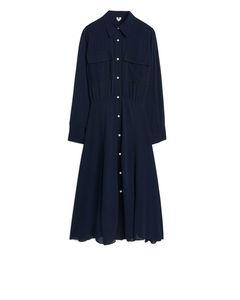 Viscose Crêpe Shirt Dress Blue
