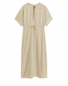 Relaxed Drawstring Dress Beige