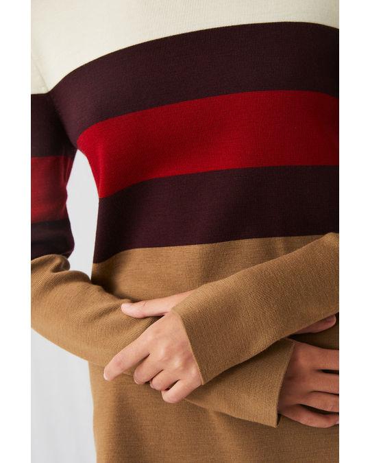 Arket Merino Colour-Blocking Jumper Dark Beige/Red