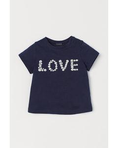 T-shirt Med Tryck Mörkblå/love