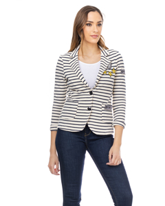 Striped Jacket With Buttons, Pockets And Stickers