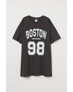 Katoenen T-shirtjurk Donkergrijs/boston