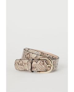 Ceintuur Beige/slangenleerdessin