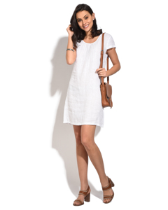 Round Collar Long Dress With Front Pleats And Short Sleeves