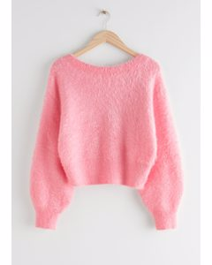Relaxed Fuzzy V-cut Back Sweater Pink