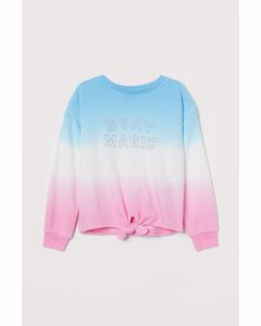 Sweatshirt Med Knut Ljusblå/stay Magic