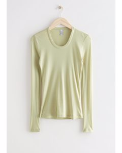 Fitted Long Sleeve Top Yellow