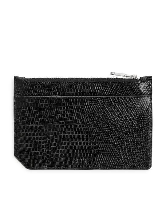Arket Embossed Leather Card Holder Black
