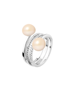 Be Loved - Ring Toi & Me Silver Cultured Pearl - Woman