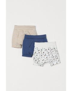 Set Van 3 Tricot Shorts Blauw/zeilboten