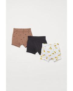 Set Van 3 Tricot Shorts Donker Beigeroze/honden