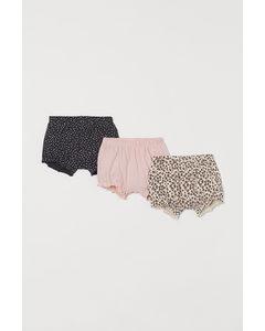 Set Van 3 Tricot Shorts Lichtbeige/luipaarddessin