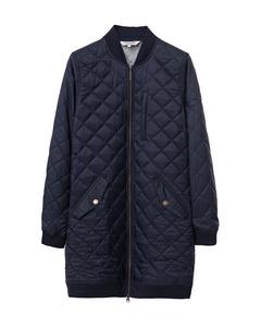 Liv Quilted Long Jacket Deep Marine Blue