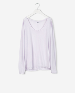 Scoop Neck Long Sleeve Top Pale Violet