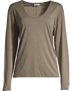 Scoop Neck Long Sleeve Top Khaki Green