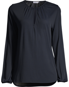 Sheer Crepe Blouse Navy