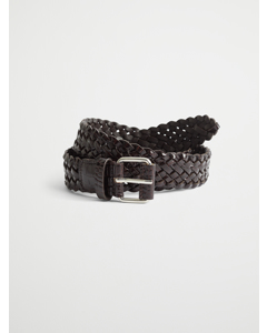 Braided Croco Leather Belt Brown Croco