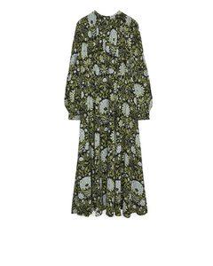 Fließendes Kleid mit Blumenmuster Schwarz/Grün
