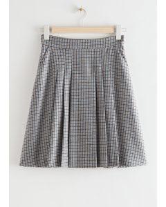 Pleated Wool Blend Mini Skirt Blue Checks