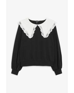 Pullover mit Spitzenkragen Schwarz