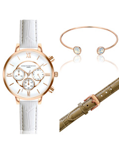 Ivy Chronograph Rose Gold  Watch With Extra Strap & Bracelet