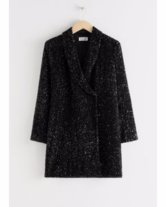 Sequin Double Breasted Blazer Dress Black