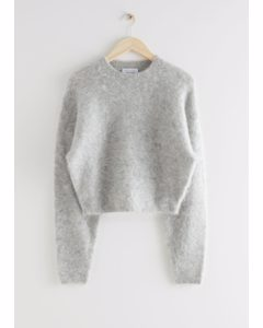 Fuzzy Jacquard Knit Sweater Grey