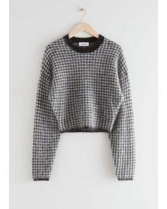 Fuzzy Jacquard Knit Sweater Black Checks