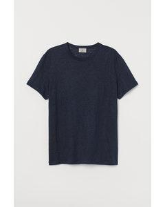 T-shirt Van Linnen Tricot Donkerblauw