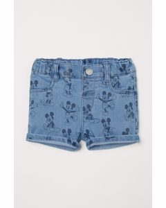 Bedruckte Jeansshorts Blau/Micky Maus