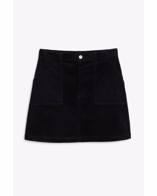 Monki A-line cord mini skirt Midnight blue