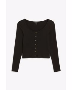 Buttoned long-sleeved top Black