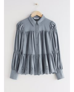 Tiered Embroidered Scallop Blouse Grey