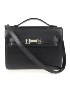 Fendi Leather Business Bag Black