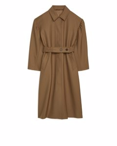 Puff-sleeve Wool Coat Dark Beige